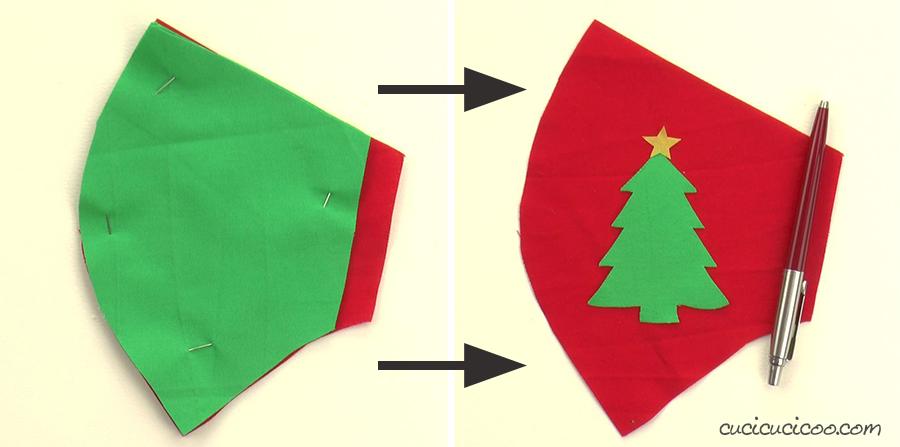 Attaccare l'albero di Natale alla mascherina natalizia. (cartamodello gratis)