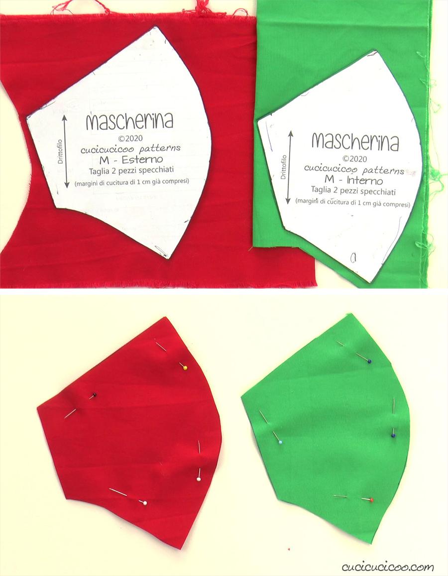 Tagliare i tessuti esterni ed interni per una mascherina lavabile per Natale.