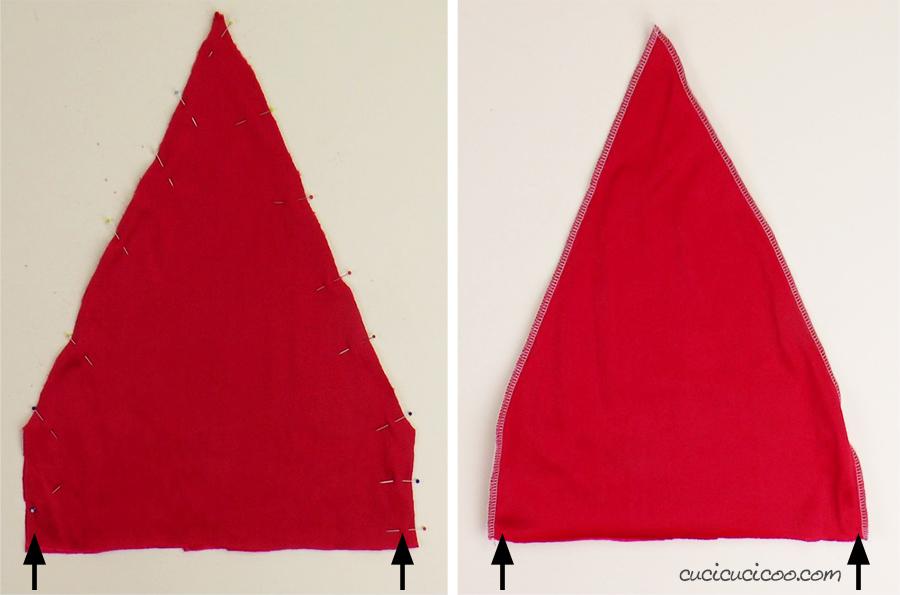 Cuci la stoffa di velluto rosso per realizzare il cappello di Babbo Natale. (con cartamodello gratuito)
