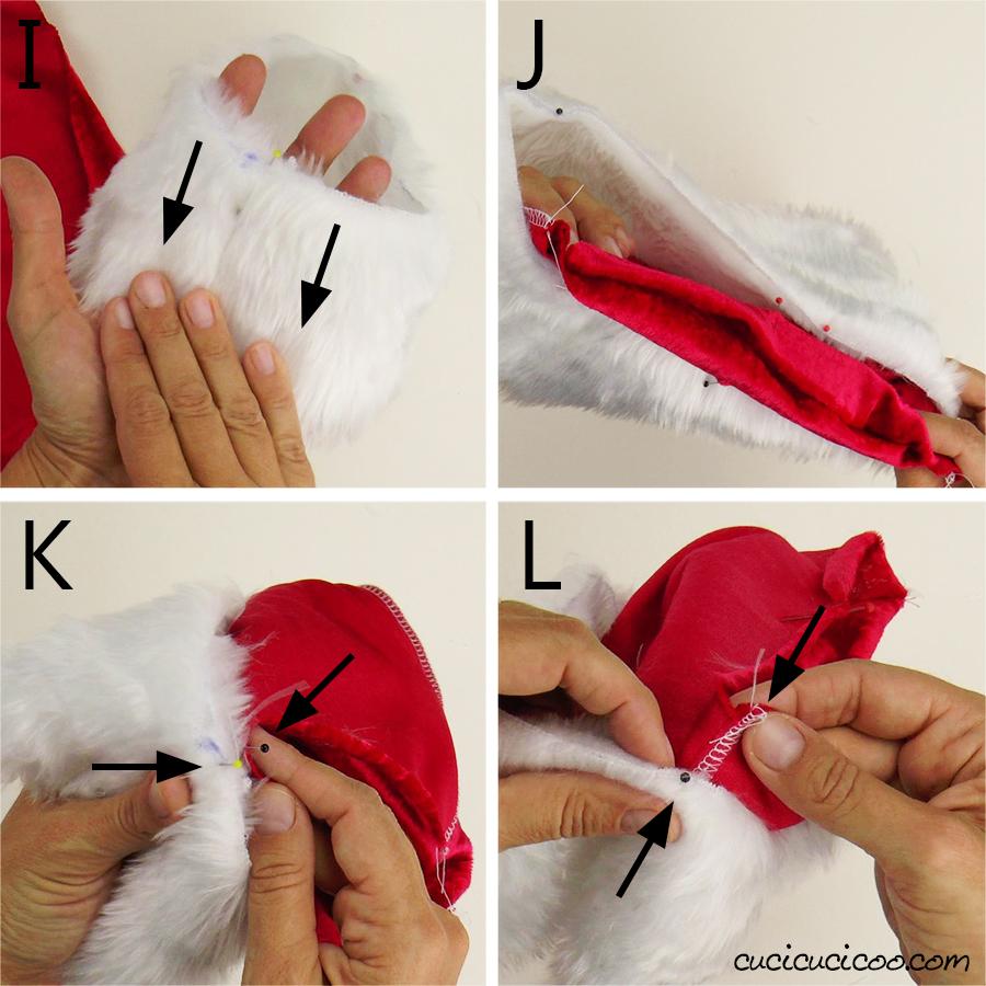 Unisci il bordo di pelliccia sintetica al cappello di Babbo Natale (cartamodello gratuito)