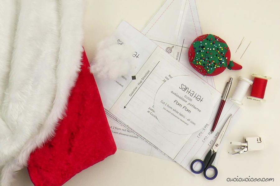 Occorrente per cucire il cappello di Babbo Natale (con cartamodello gratuito)