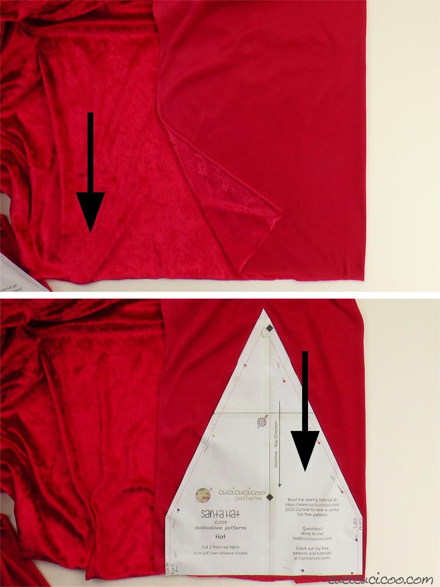 Taglia la stoffa di velluto rosso per cucire il cappello di Babbo Natale. (con cartamodello gratuito)