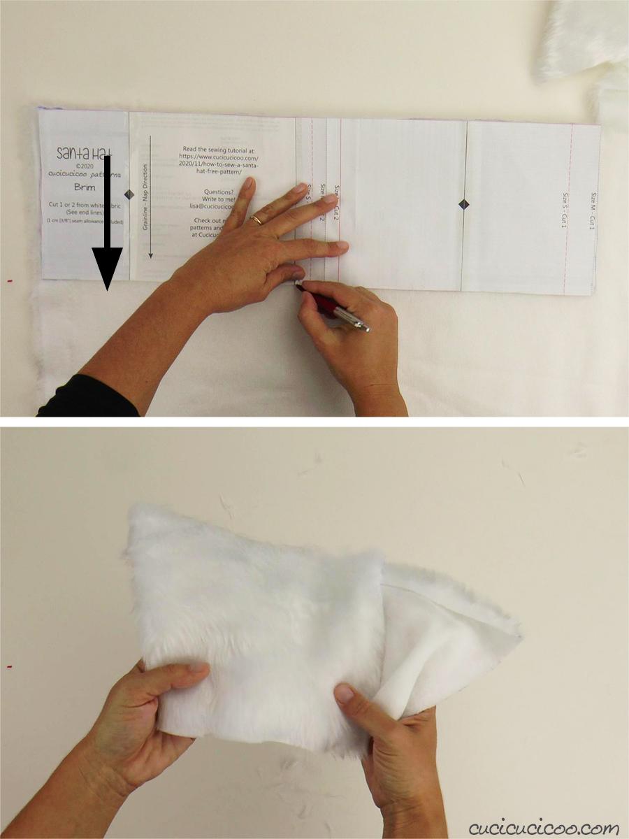 Taglia la stoffa di pelliccia sintetica per cucire il cappello di Babbo Natale. (con cartamodello gratuito)