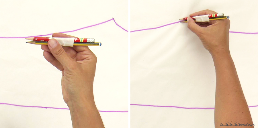 This is the BEST trick for tracing sewing patterns! Tape two pencils together and trace on the pattern to add seam allowance. #sewingtips #sewingtricks