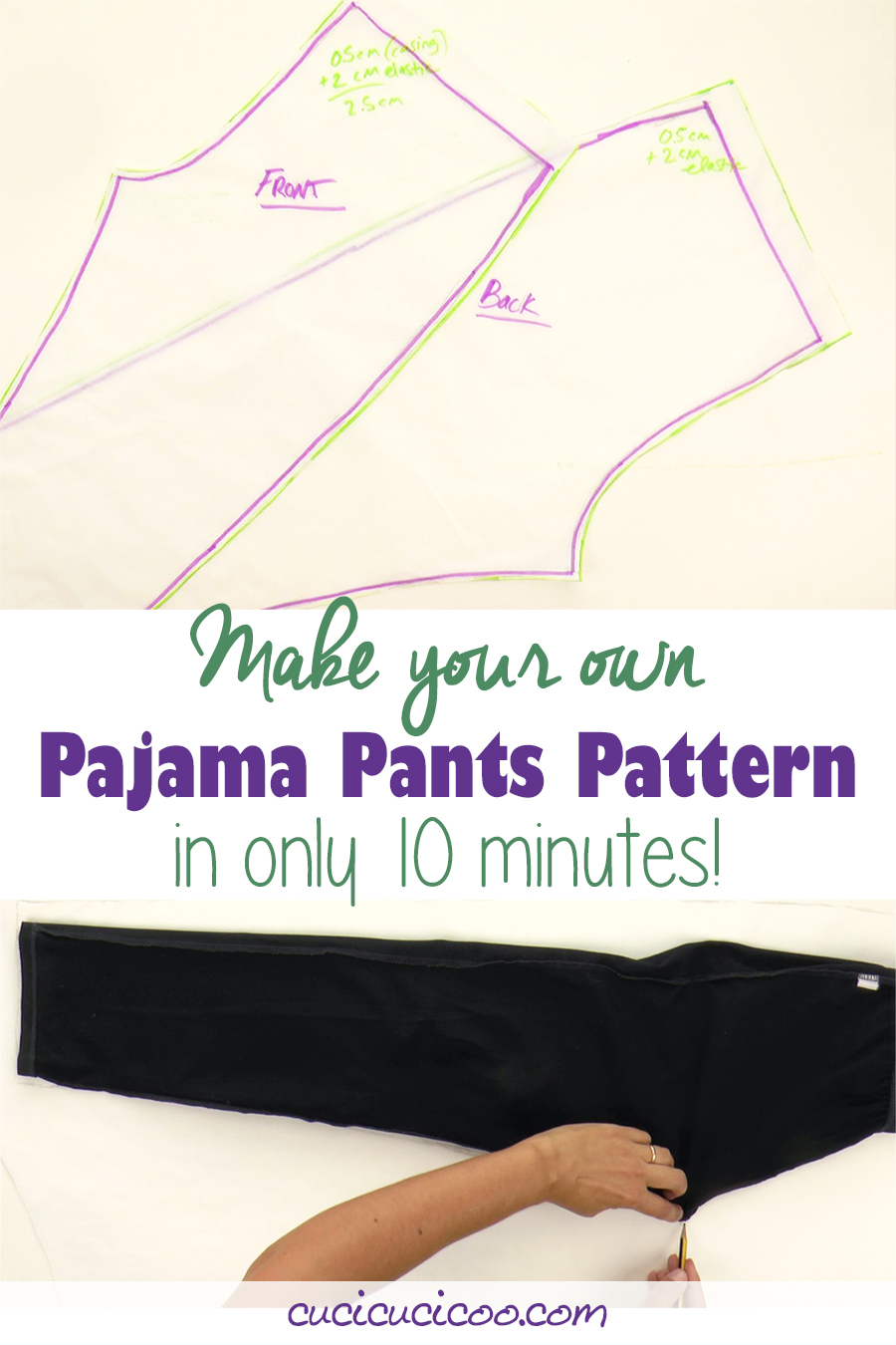 It's so easy to trace around a pair of pants that fit you to get a free pajama pants sewing pattern! This tutorial gives tips and tricks for making it easy! #freesewing #sewingpatterns