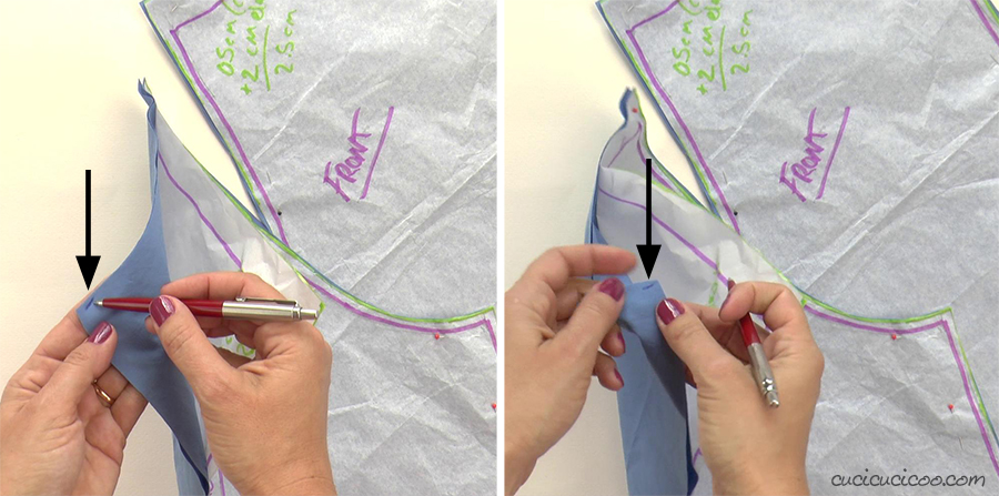 Mark the wrong sides of the fabric with a small pen mark inside the seam allowance