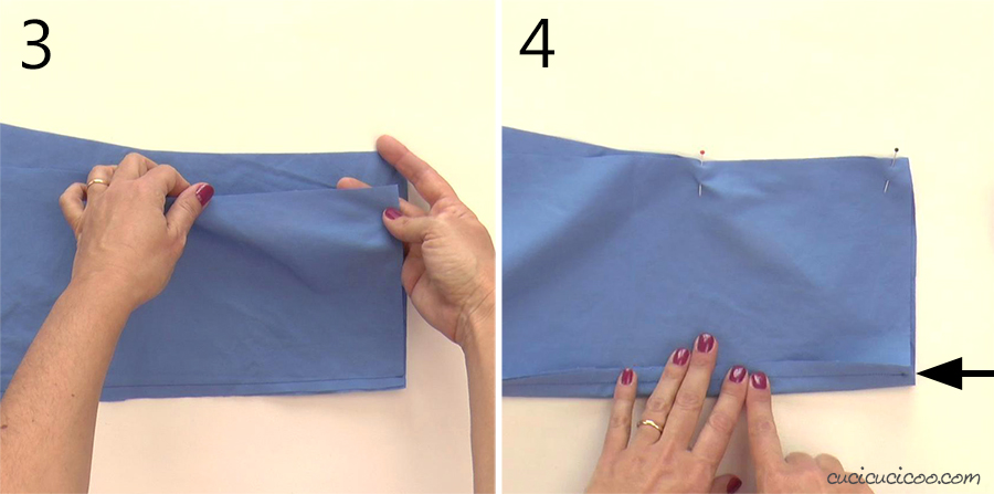 Match up the fabric edges at the inner leg of the pant legs