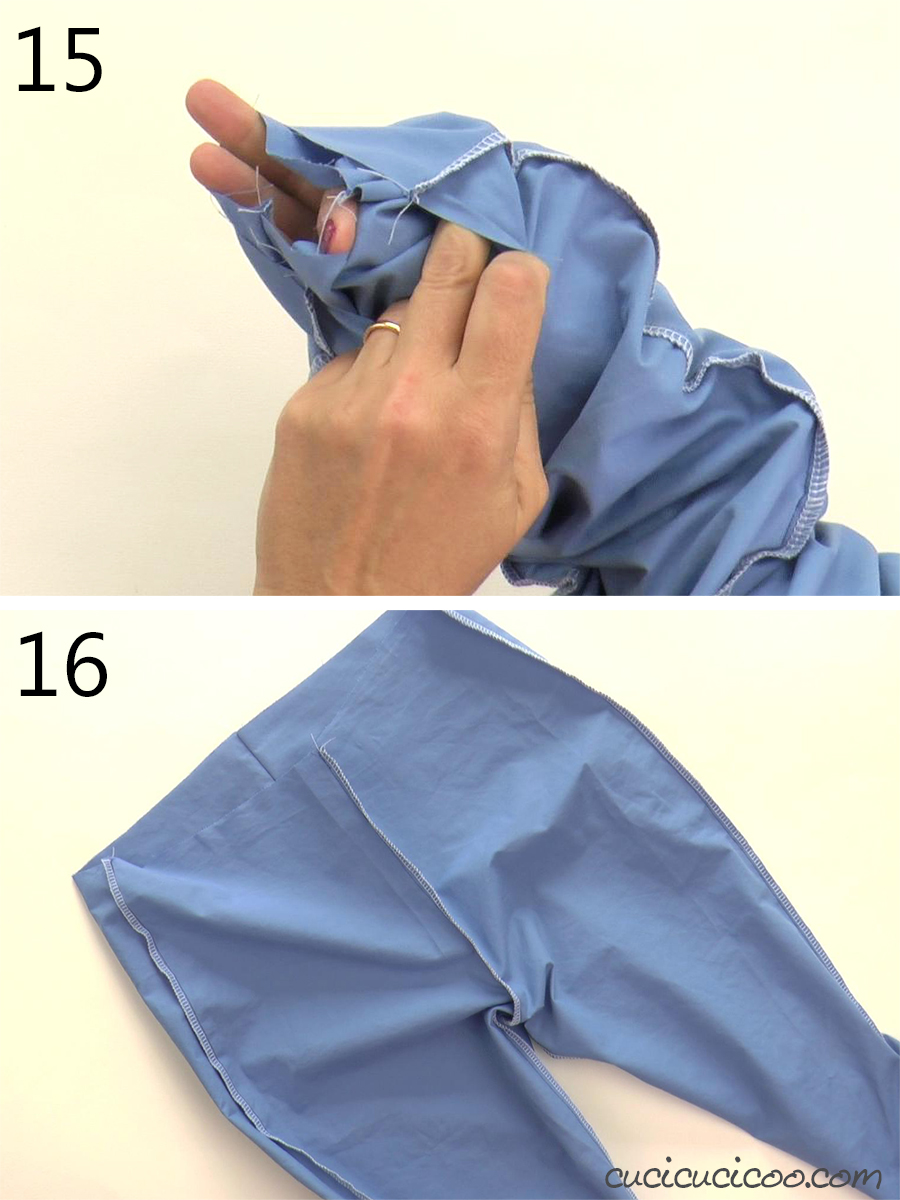 Pulling the legs out after sewing the crotch seam in trousers