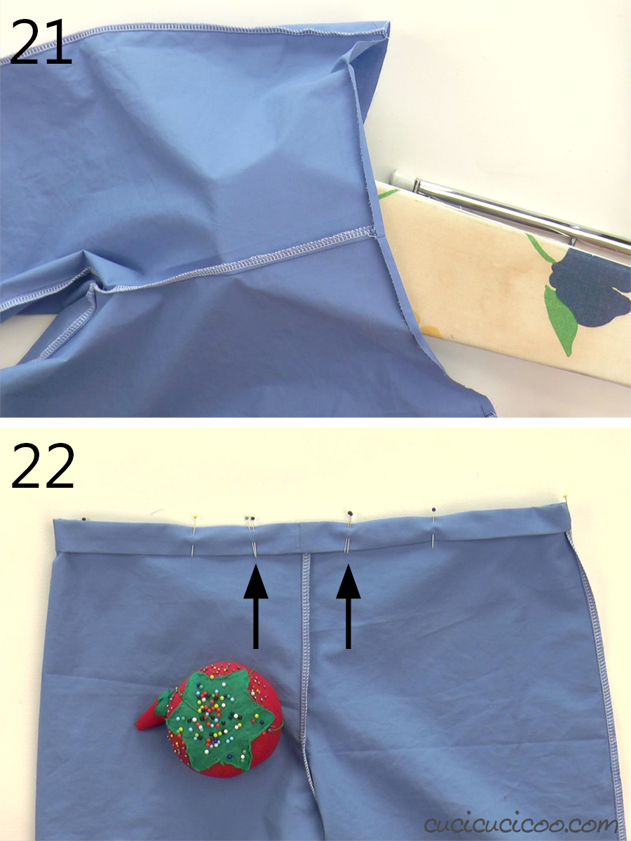 How to sew the elastic waistband casing on a pair of pajama pants.
