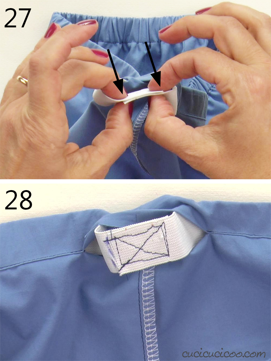 How to insert the elastic in an elastic waistband
