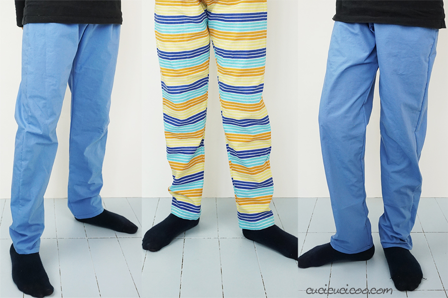Learn how to sew PJ pants with this pajama pants tutorial! All the details are included so that even beginner sewists can sew their very first piece of clothing! The elastic waistband is comfortable and easy to sew. #sewingclothes #sewpants
