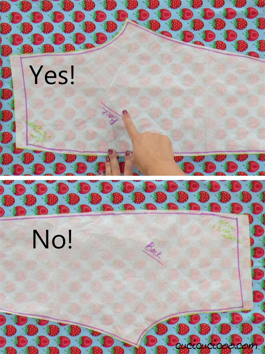 Cutting a pattern out of directional fabric