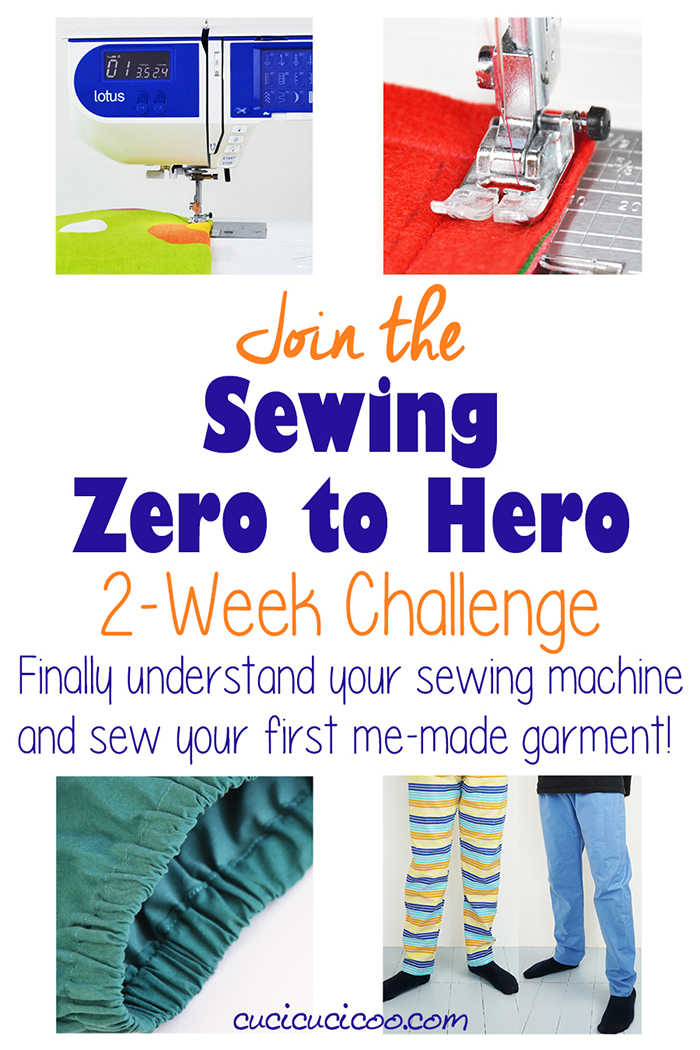 Learn to sew online with the Zero to Hero 2 week sewing challenge by Cucicucicoo! In just 14 days go from being a stranger to your machine to sewing your first me-made garment, a pair of comfy pajama pants! #learntosew #sewing101
