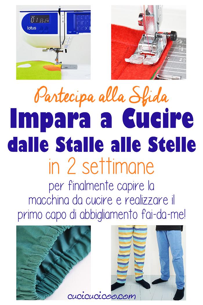 Impara a cucire con lezioni di cucito base gratis! La sfida online di 2 settimane ti insegnerà tutto per poter cucire i tuoi primi vestiti handmade: comodi pantaloni! #cucire #cucito