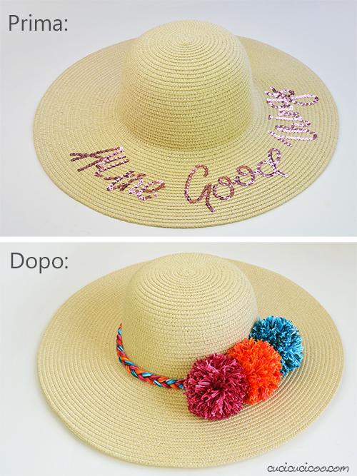 Prima e dopo la trasformazione del cappello di paglia