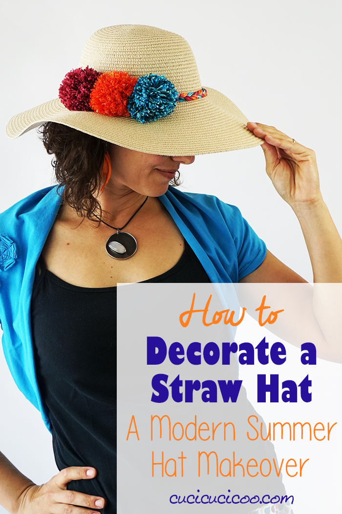 Learn how to decorate a straw hat with colorful yarn pompoms and braided cord! This summer hat makeover is an easy and fun way to create a totally unique look in the hot weather. #diysunhat #sunhatdiy