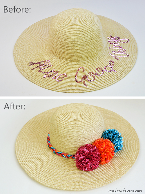 Before and after the fun summer hat makeover
