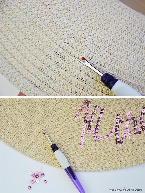 come rimuovere paillettes da un cappello di paglia