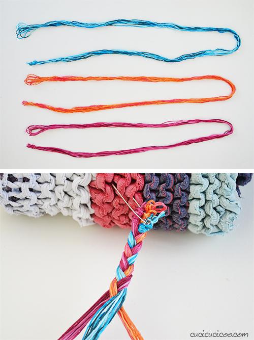 Intrecciare i fili di filato di cotone