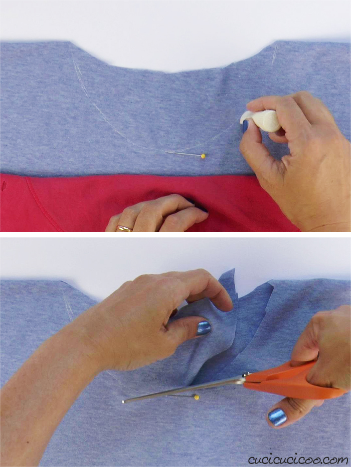Mark and cut the neckline of the jersey t-shirt