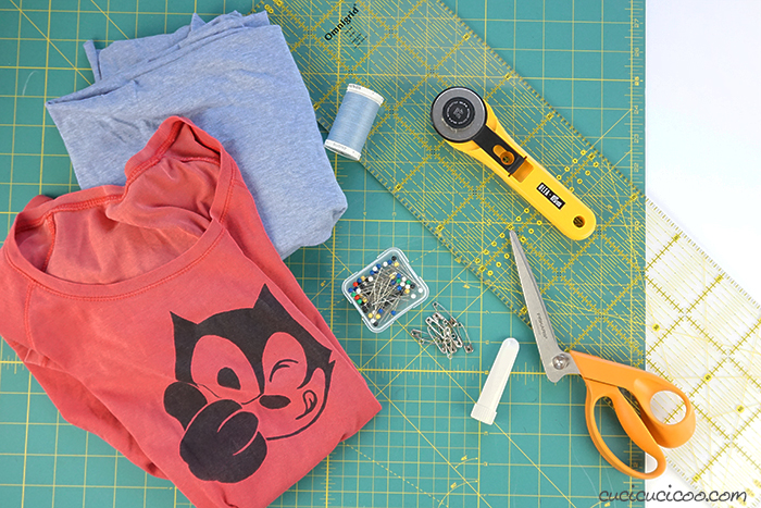 Materials for sewing the easiest T-shirt ever
