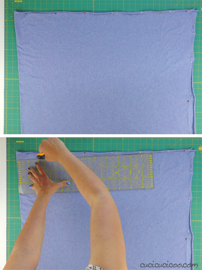 Trimming a rectangle of jersey fabric to make a T-shirt