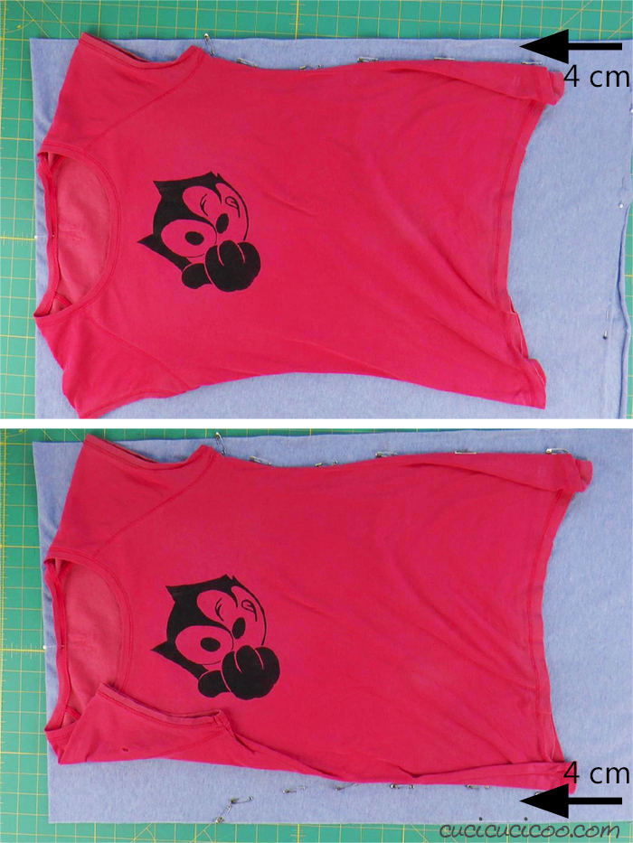 Position the T-shirt on the jersey fabric, leaving 4 cm on each side.