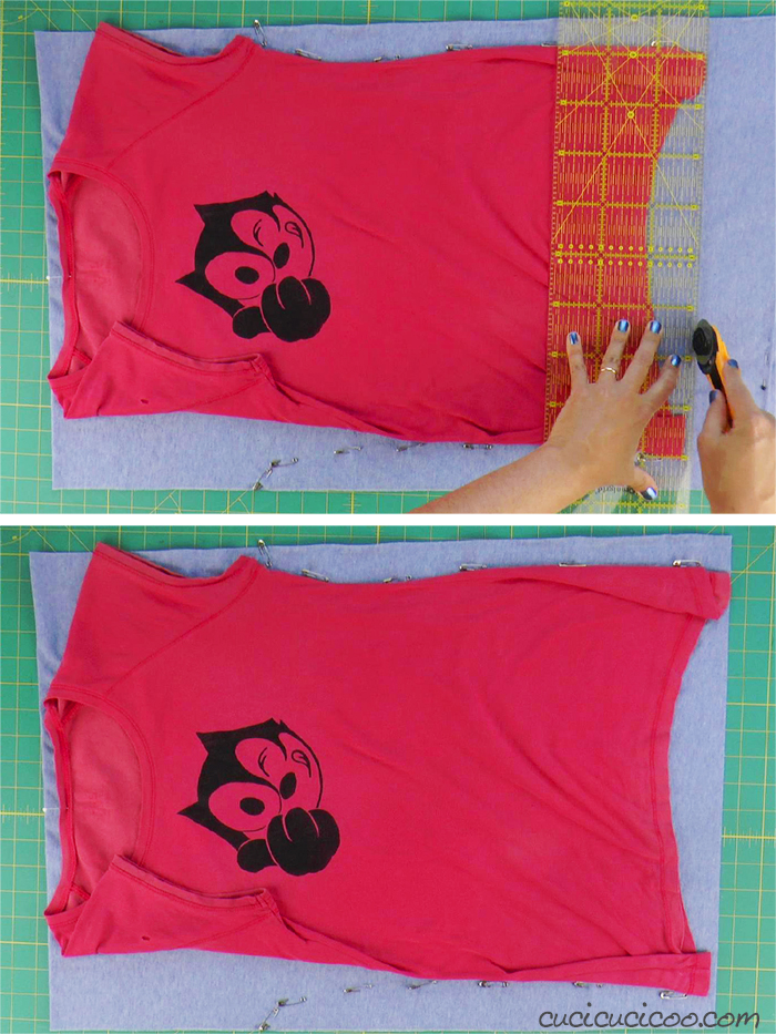 Trim the jersey fabric with a quilting ruler and rotary cutter
