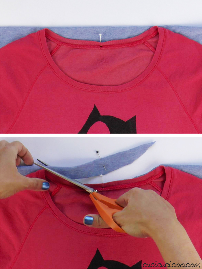 Cut the neckline of the jersey t-shirt