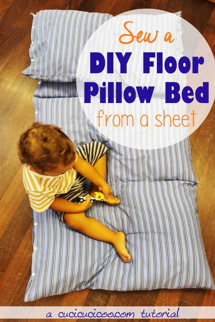 Learn how to sew a DIY pillow bed for adults and kids for comfy lounging on the floor of your home! Fold it for extra cushioning under your head or for storage. #diypillow #diyfloorpillow