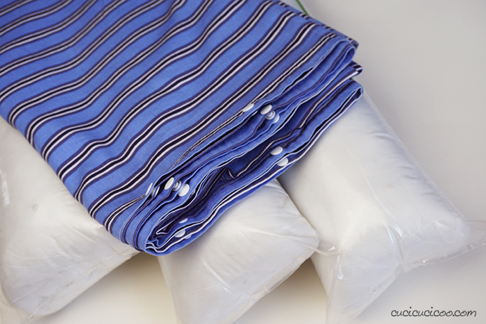 DIY pillow bed for adults and kids, folded with pillows, ready to give as a great handmade gift!