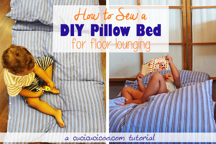 The easiest floor pillow bed DIY tutorial! Repurpose a sheet and stuff it with 4 standard bed pillows. A great easy sewing project for beginners! Awesome DIY gift for kids and adults! #diypillow #diyfloorpillow