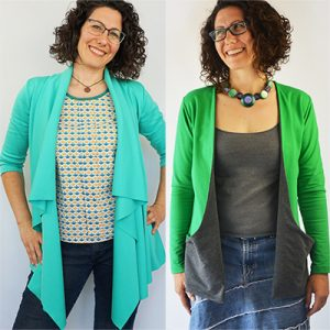 This autumn cardigan sewing pattern review will help you choose between two cardi patterns that are perfect for layering in the fall for added warmth and style: the Laurelhurst and the Drop Pocket Cardigans.